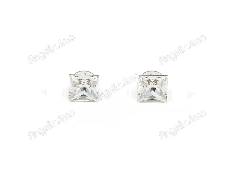 Серьги серебряного цвета с кристаллами Swarovski квадратной формы
