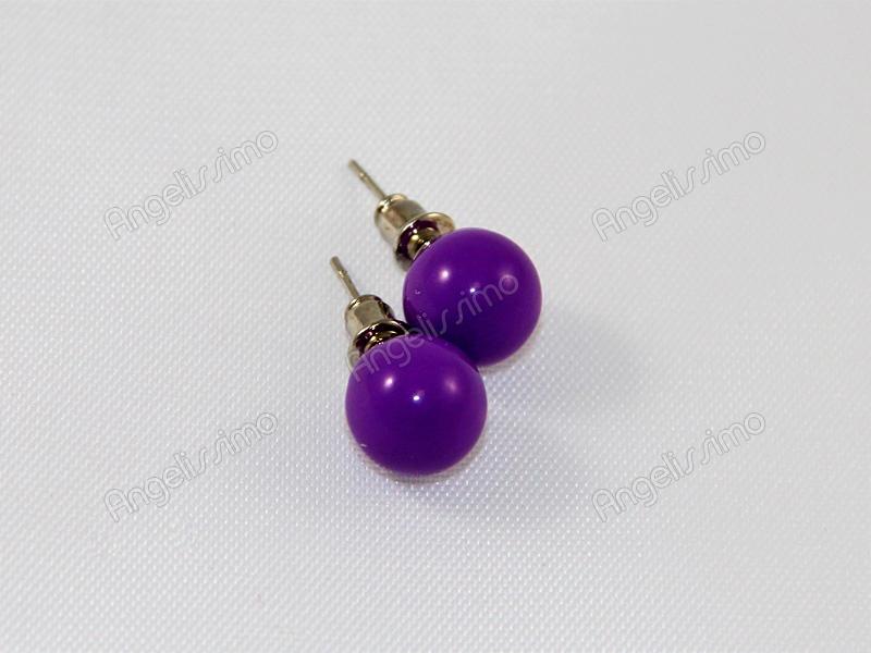 Серьги из фиолетового пластика