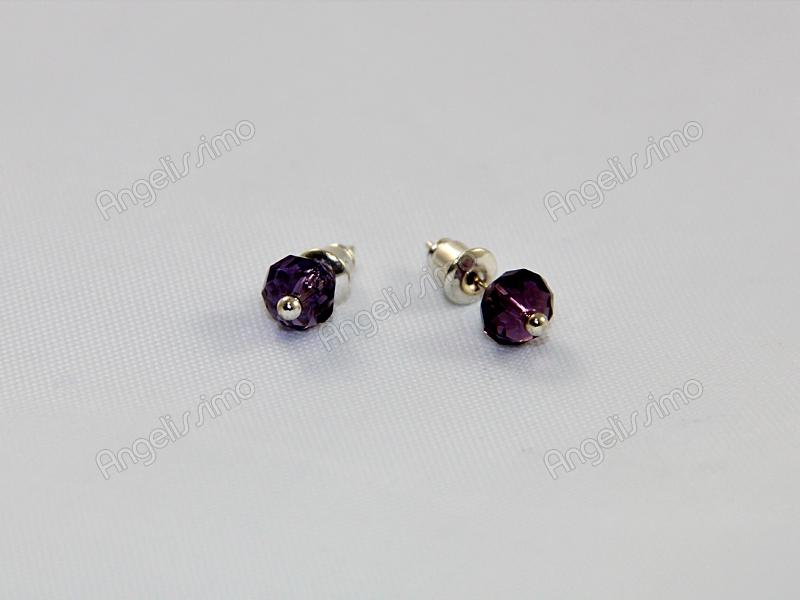 Серьги из темно-фиолетового фианита