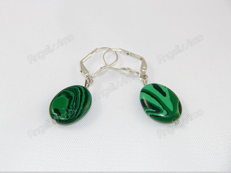 Серьги из зеленого малахита