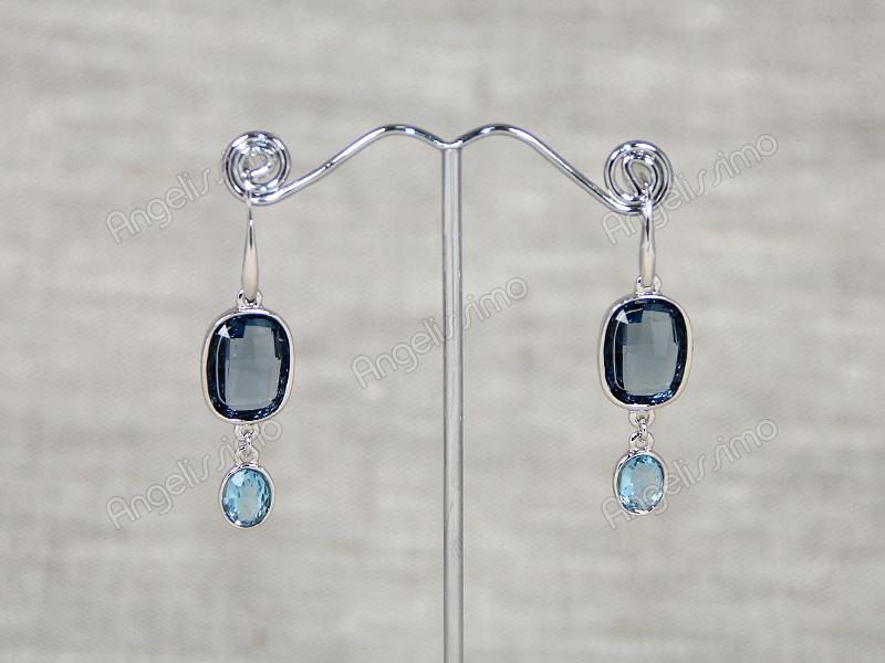 Серьги с голубыми кристаллами Swarovski